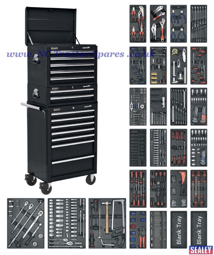 Tool Chest Combination 14 Drawer - Ball Bearing Runners - Black with 1179pc Tool Kit